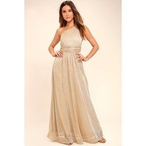 Lulus Luminous Grace Gold One-Shoulder Maxi Dress